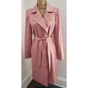 ARDEN B Blush Pink Tie Waist Trench Coat